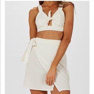 2pc wrap set crop top & wrap skirt set